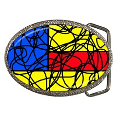 Yellow abstract pattern Belt Buckles
