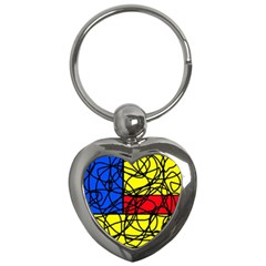 Yellow abstract pattern Key Chains (Heart)