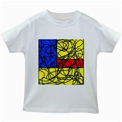 Yellow abstract pattern Kids White T-Shirts