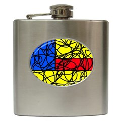 Yellow abstract pattern Hip Flask (6 oz)