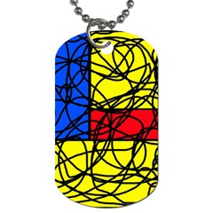 Yellow abstract pattern Dog Tag (Two Sides)