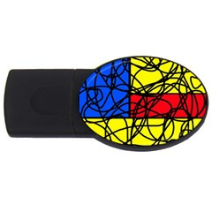 Yellow abstract pattern USB Flash Drive Oval (1 GB)
