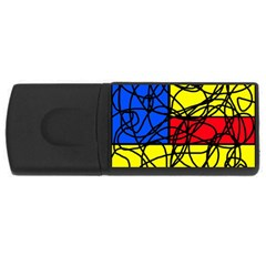 Yellow abstract pattern USB Flash Drive Rectangular (1 GB)