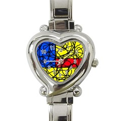 Yellow abstract pattern Heart Italian Charm Watch