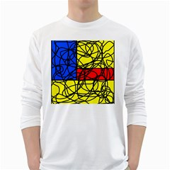 Yellow abstract pattern White Long Sleeve T-Shirts