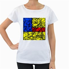 Yellow abstract pattern Women s Loose-Fit T-Shirt (White)
