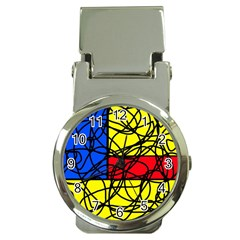 Yellow abstract pattern Money Clip Watches