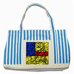 Yellow abstract pattern Striped Blue Tote Bag