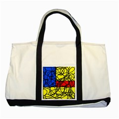 Yellow abstract pattern Two Tone Tote Bag