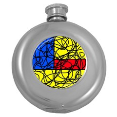 Yellow abstract pattern Round Hip Flask (5 oz)