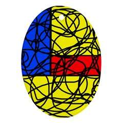Yellow abstract pattern Oval Ornament (Two Sides)