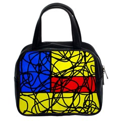 Yellow abstract pattern Classic Handbags (2 Sides)