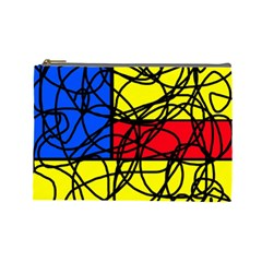 Yellow abstract pattern Cosmetic Bag (Large)