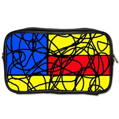 Yellow abstract pattern Toiletries Bags 2-Side
