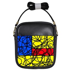 Yellow abstract pattern Girls Sling Bags