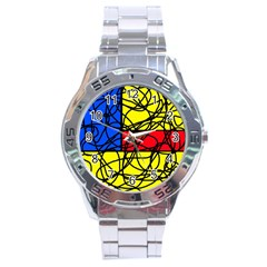 Yellow abstract pattern Stainless Steel Analogue Watch