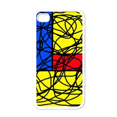 Yellow abstract pattern Apple iPhone 4 Case (White)