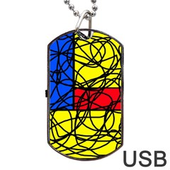 Yellow abstract pattern Dog Tag USB Flash (Two Sides)