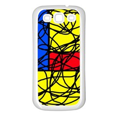 Yellow abstract pattern Samsung Galaxy S3 Back Case (White)