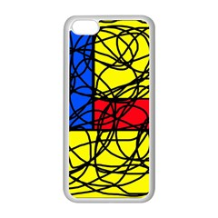 Yellow abstract pattern Apple iPhone 5C Seamless Case (White)