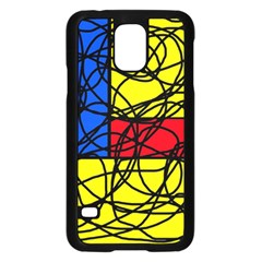 Yellow abstract pattern Samsung Galaxy S5 Case (Black)