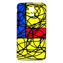 Yellow abstract pattern Samsung Galaxy S5 Back Case (White)