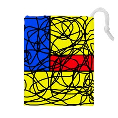 Yellow Abstract Pattern Drawstring Pouches (extra Large)