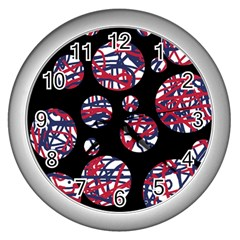 Colorful decorative pattern Wall Clocks (Silver)