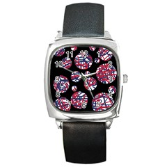 Colorful decorative pattern Square Metal Watch