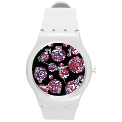 Colorful decorative pattern Round Plastic Sport Watch (M)
