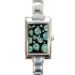 Decorative blue abstract design Rectangle Italian Charm Watch