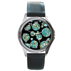 Decorative blue abstract design Round Metal Watch