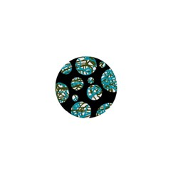 Decorative blue abstract design 1  Mini Buttons