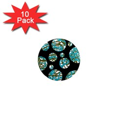 Decorative blue abstract design 1  Mini Magnet (10 pack)