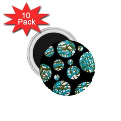 Decorative blue abstract design 1.75  Magnets (10 pack)