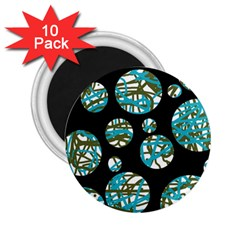 Decorative blue abstract design 2.25  Magnets (10 pack)