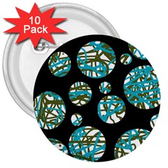 Decorative blue abstract design 3  Buttons (10 pack)