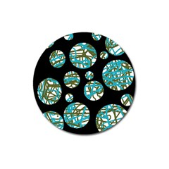 Decorative blue abstract design Magnet 3  (Round)