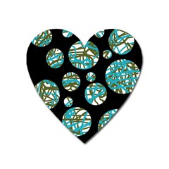 Decorative blue abstract design Heart Magnet