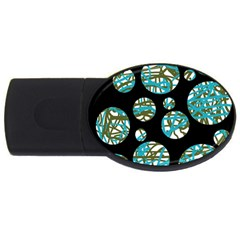 Decorative blue abstract design USB Flash Drive Oval (2 GB)