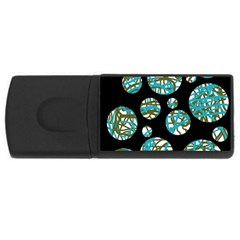 Decorative blue abstract design USB Flash Drive Rectangular (1 GB)