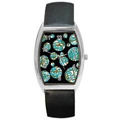 Decorative blue abstract design Barrel Style Metal Watch
