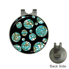 Decorative blue abstract design Hat Clips with Golf Markers