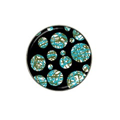 Decorative blue abstract design Hat Clip Ball Marker (4 pack)