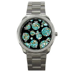 Decorative blue abstract design Sport Metal Watch