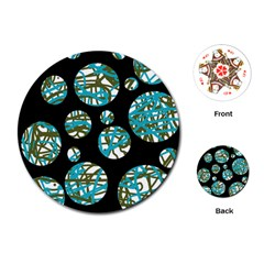 Decorative blue abstract design Playing Cards (Round)