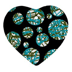 Decorative blue abstract design Heart Ornament (2 Sides)