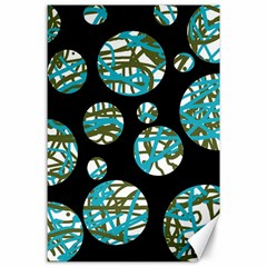 Decorative blue abstract design Canvas 24  x 36