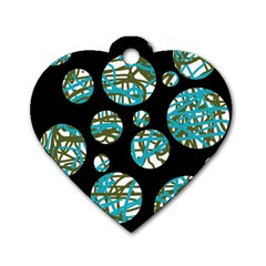 Decorative blue abstract design Dog Tag Heart (Two Sides)