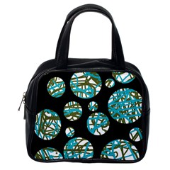 Decorative blue abstract design Classic Handbags (One Side)